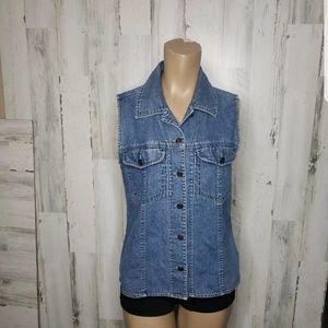 VTG Woolrich Indigo Blue Denim Jean Vest Size S